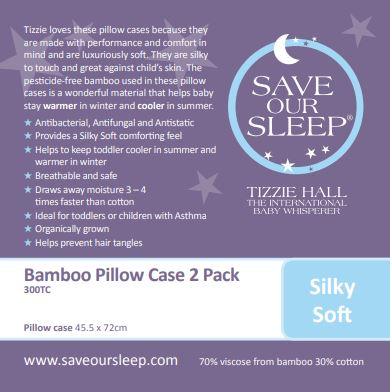 OUT OF STOCK NO ETA: Save Our Sleep, Standard Pillow Case 2 pk / Pram bassinet mattress slip - White
