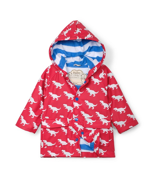 Hatley - Colour Changing Baby Raincoat - T-Rex Silhouettes