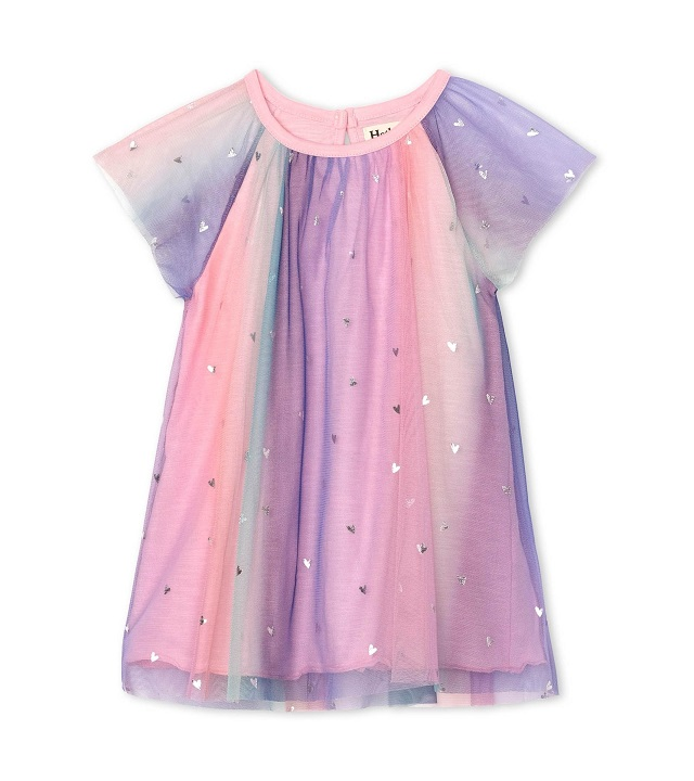 Hatley Metallic Hearts Rainbow Tulle Dress