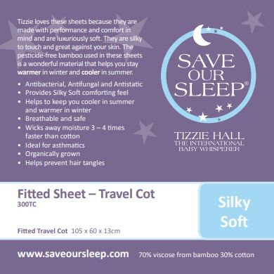 Save Our Sleep Travel Cot Fitted Sheet - White