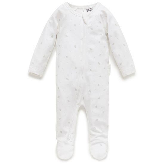 Purebaby Organic 2 Ended Zip Babygro - Pale Grey Leaf with Spot