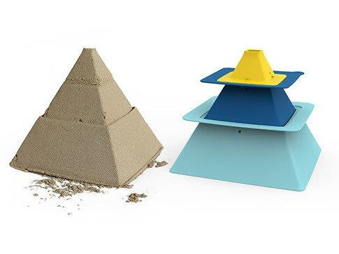 Quut - Pira Sandcastle Stacker, Vintage Blue, Deep Blue & Mellow Yellow
