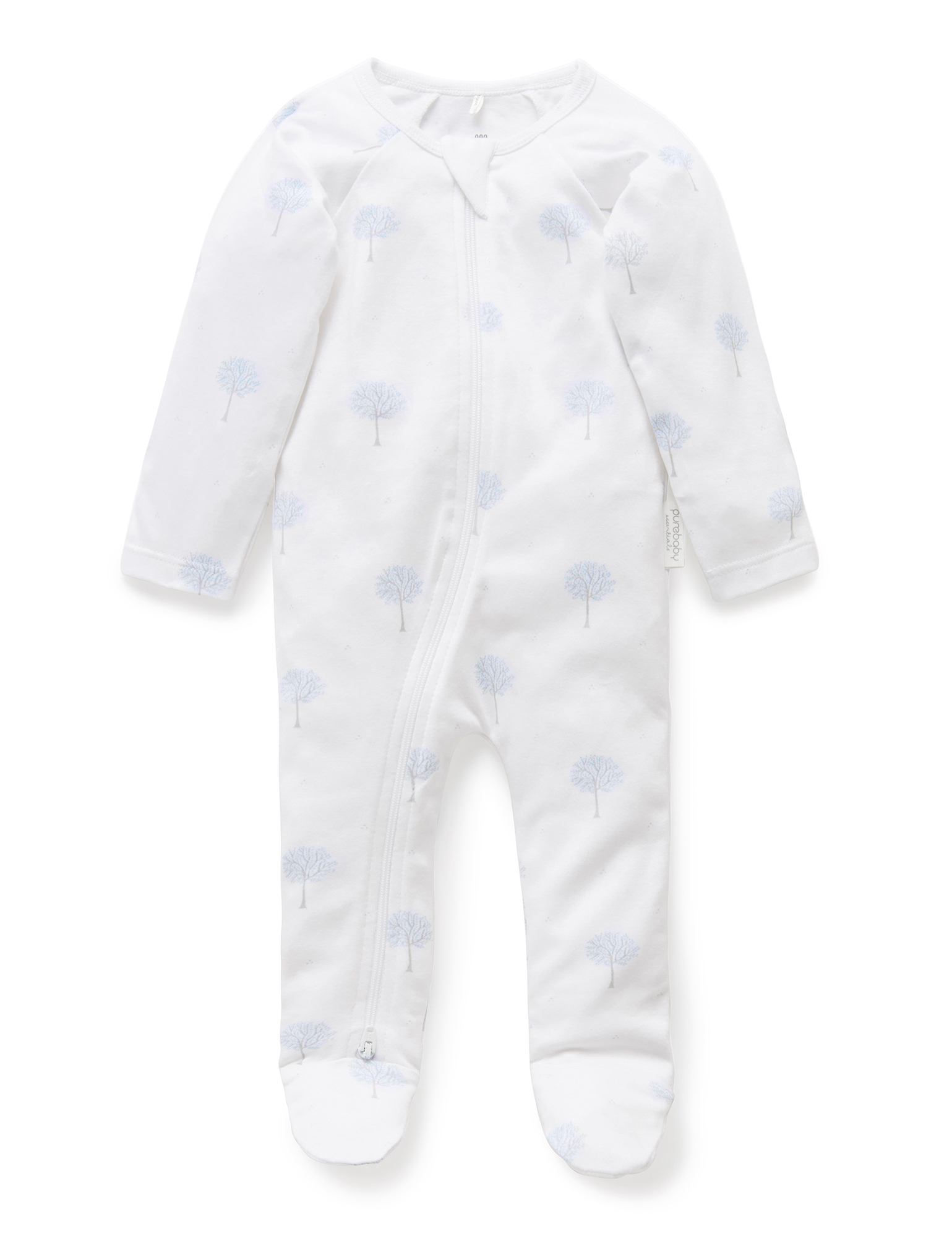 Purebaby Zip Babygro - Pale Blue Tree