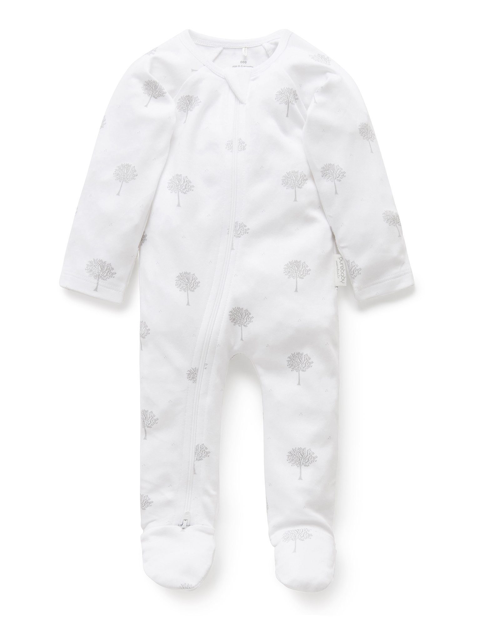 Purebaby Zip Babygro - Pale Grey Tree