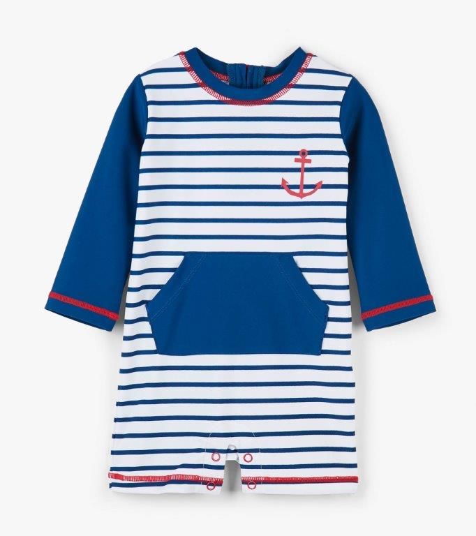 Hatley Rashguard One-Piece - Nautical Stripes