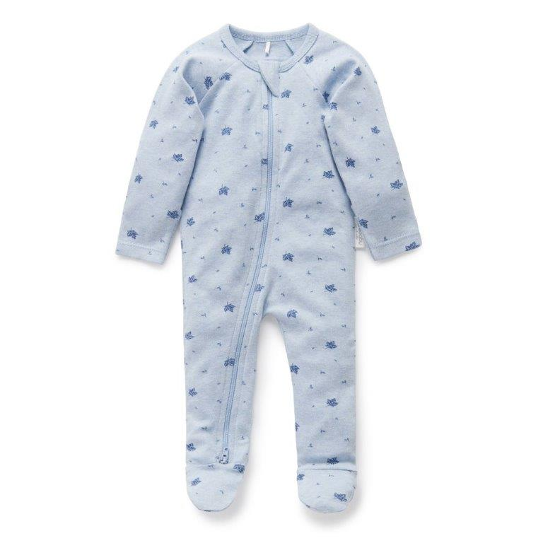 Purebaby Zip Babygro - Pale Blue Leaf