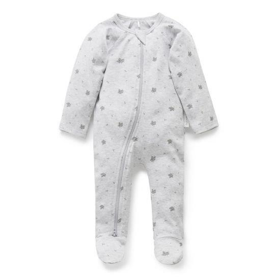 Purebaby Zip Babygro - Pale Grey Leaf