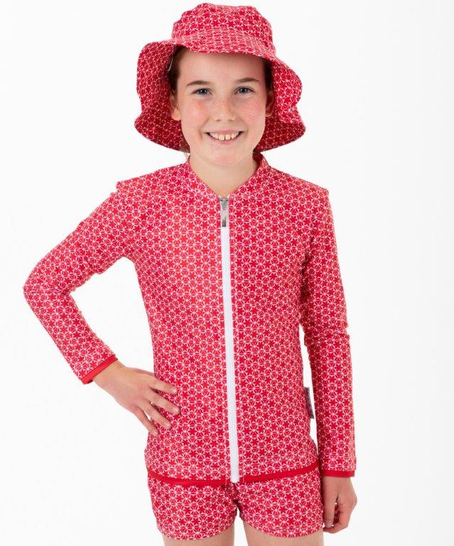 Babes in the Shade - Girls Sunshirt and Trunk Set - Pinwheel Red