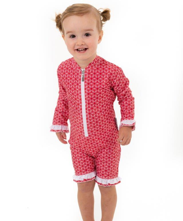 Babes in the Shade - Girls UV Suit - Pinwheel Red