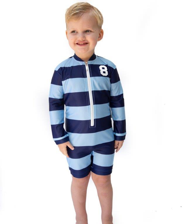 Babes in the Shade - Boys UV Suit - Blue Rugger