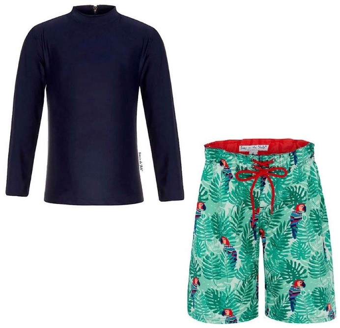 Babes in the Shade - Boys Rashie and Boardshirt Set - Navy/Parrot