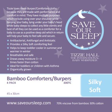 Save Our Sleep Comforter/Burper Bamboo-Cotton 4 pk - Grey
