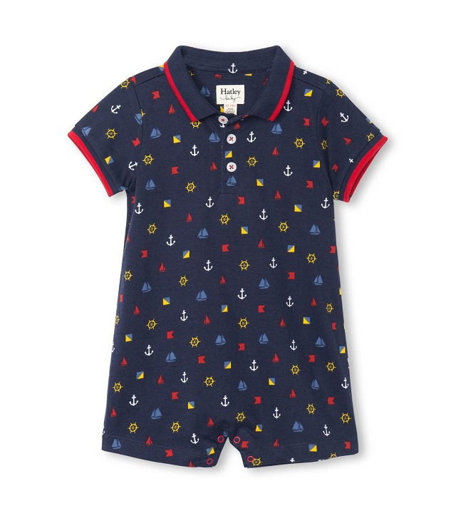 Hatley Nautical Emblems Baby Polo Romper