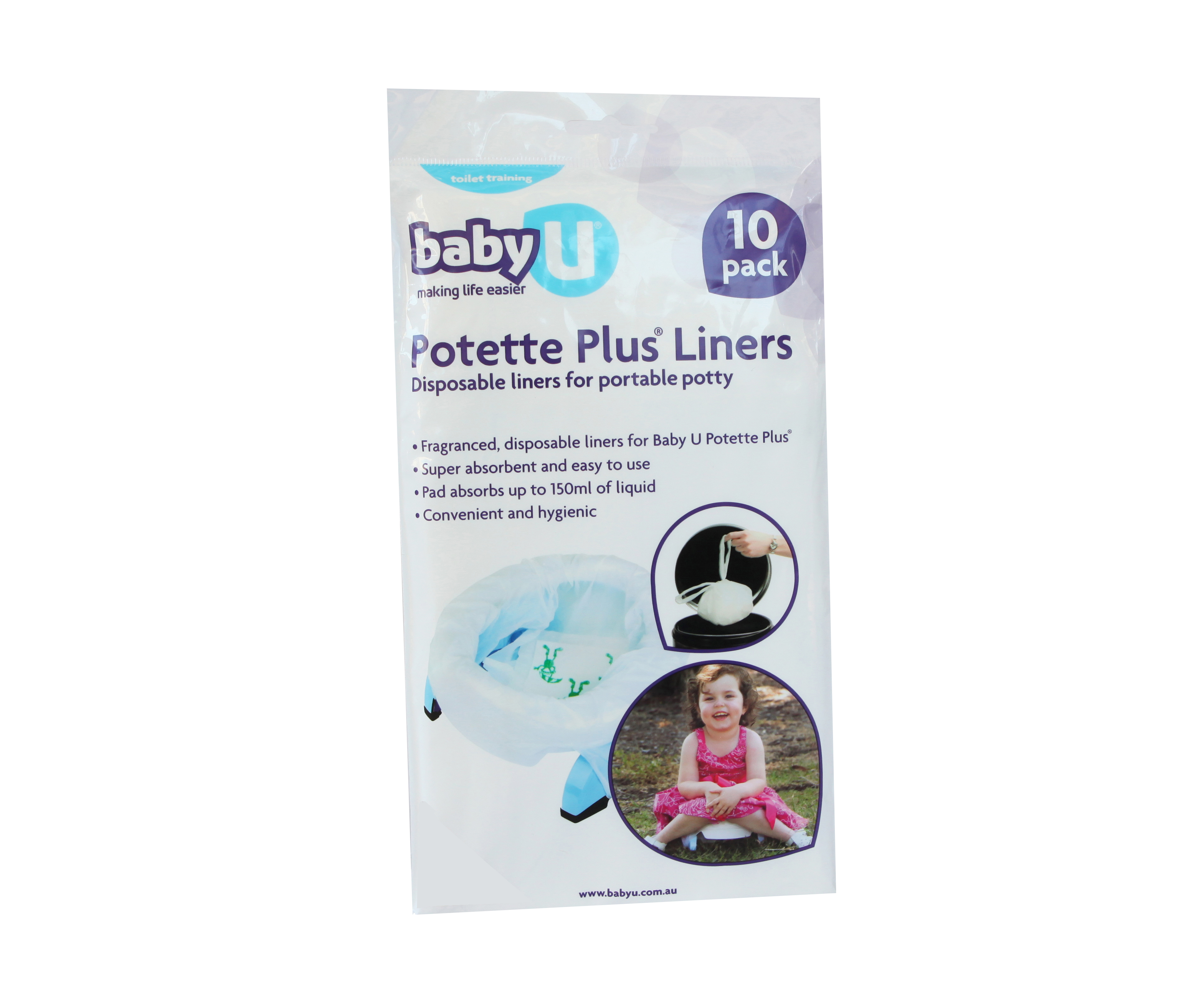 Baby U 10 pack of Liners for Travel Potty Plus